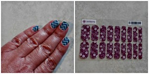 Left:  My crazy chevron nails this week Right:  Jamberries as they come out of the package