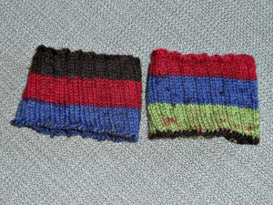 My sock cuffs that went to Gail for the next section.