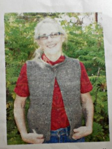 This is the picture on the front of the vest pattern.  Do you recognize it?  Let me know, because I have no idea of the name of it or the designer!