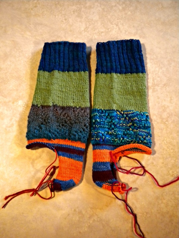 Pati's socks -- I turned the heel and then passed them on to Gail
