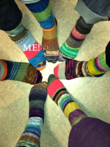 All the sock circle ladies wearing their socks