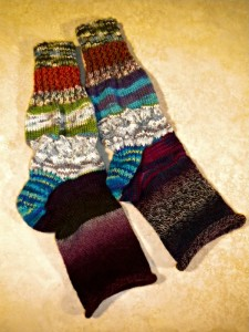 I knit a 5 inch section on the foot (bottom section of the socks) and then passed them back to Gail, who will finish her socks this coming week!