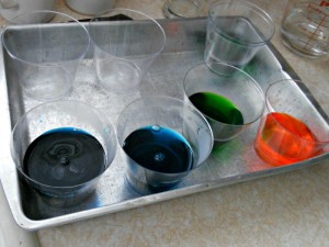 We mixed up some cake frosting dyes