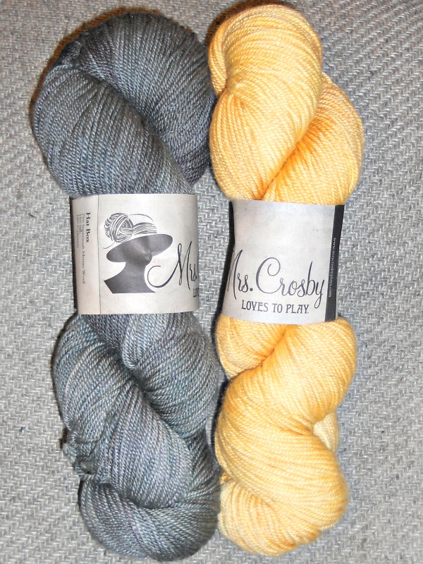 Mrs. Crosby Loves to Play, Hat Box base, Squid Ink (left) and Golden Butter (right) colorways