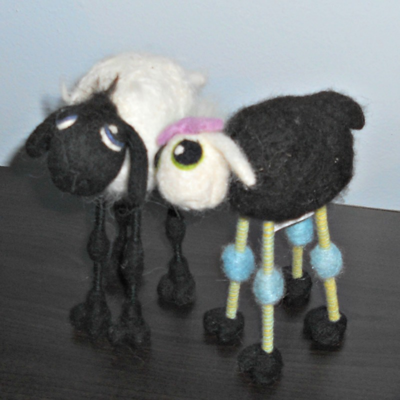 Sidney Sheep (left) and Olive Ewe (right) are cute, felted sheep by artist Emily Barnard